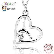 Фотография Open Love Heart 925 Sterling Silver Pendant&Necklace Jewelry Beauty Gymnastics Women Pendant Necklace For Women Engagement Colar