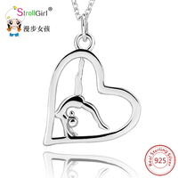 Sport Love Heart 925 Sterling Silver Pendant&Necklace Jewelry Beauty Gymnastics Women Pendant Necklace For Women Engagement Girl