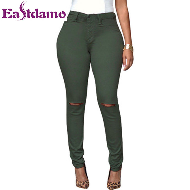 Fashion Women Elastic High Waist Stretch Ripped Jeans Sexy Skinny Pencil Pants Slim Long Trousers Cotton Casual Jeans For Female women sexy holes jeans new fashion ladies elastic waist skinny stretch ripped nine pencil pants casual denim trousers streetwear