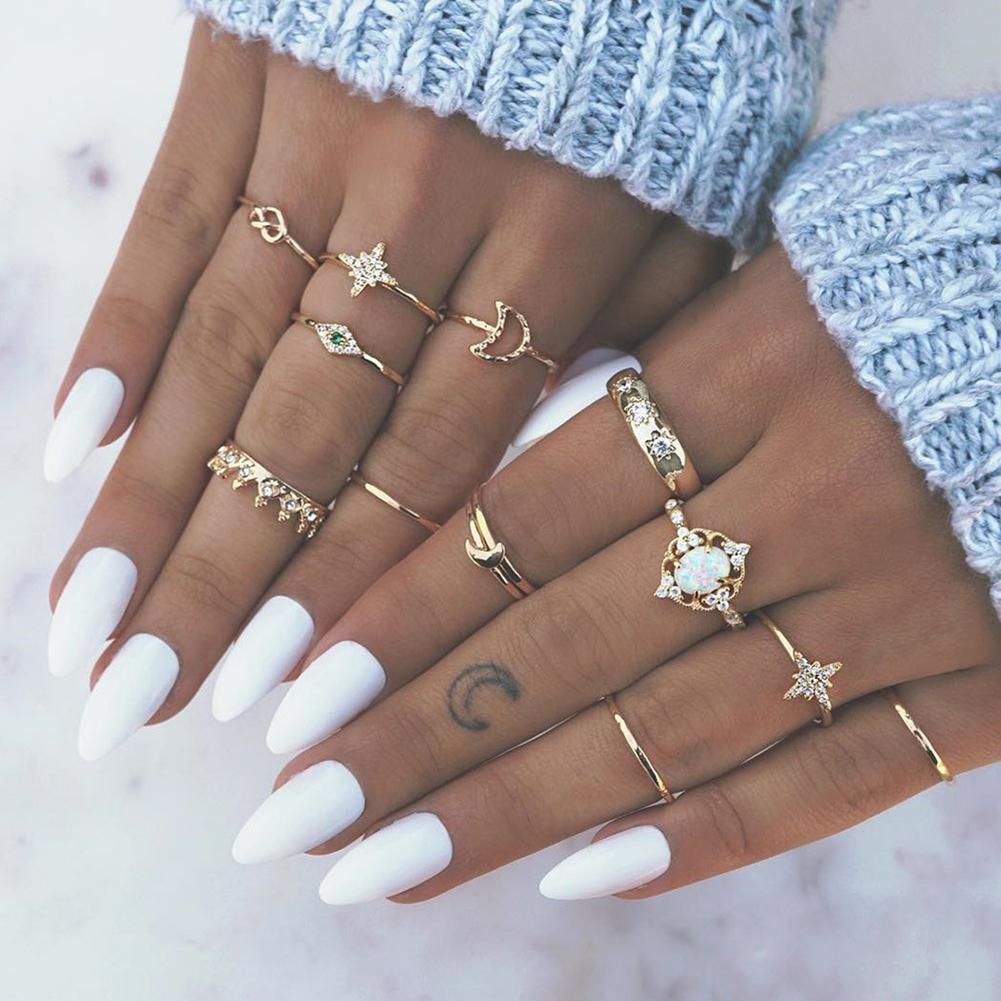 13 шт./компл. Boho для женщин Moon Star Корона искусственный опал кольцо для средней фаланги пальца кольцо ювелирные изделия