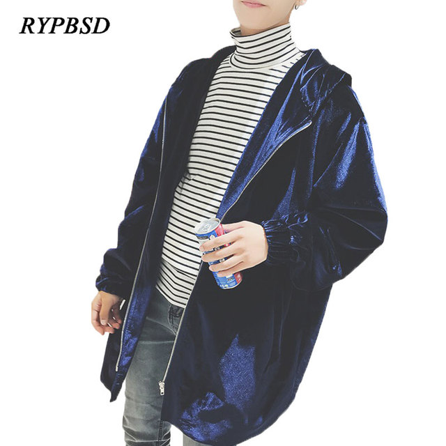 2018 Winter Gold Velour Trench Coat Men Gray Zipper Fashion Vintage Loose Hooded Long Trench Coat Mens Overcoat Plus Size 5XL