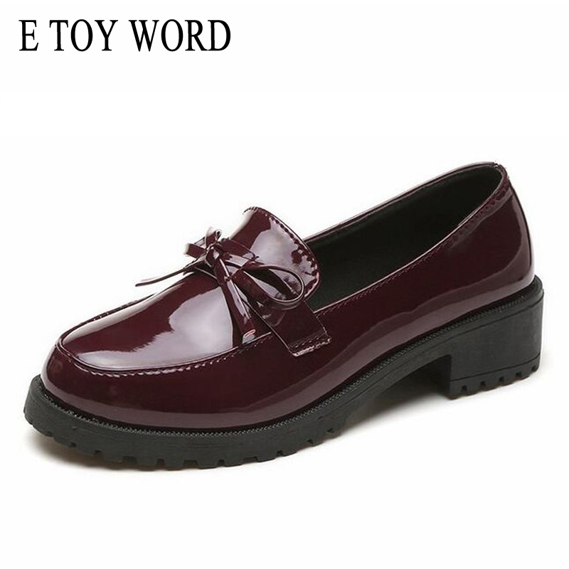 E TOY WORD Patent Leather Women Oxfords British 2018 New Autumn Platform Flats Casual Butterfly-knot Ladies Brogue Shoes Woman fashion patent leather oxfords shoes woman 2016 casual platform flats low heels silver women brogue shoes 2 wearing xwd3170