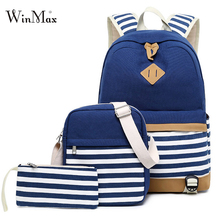3 Set Backpacks Canvas School Bags For Teenages Girls Laptop Backpacks Women Striped Shoulder Bag Travel Daypack With Phone Bag