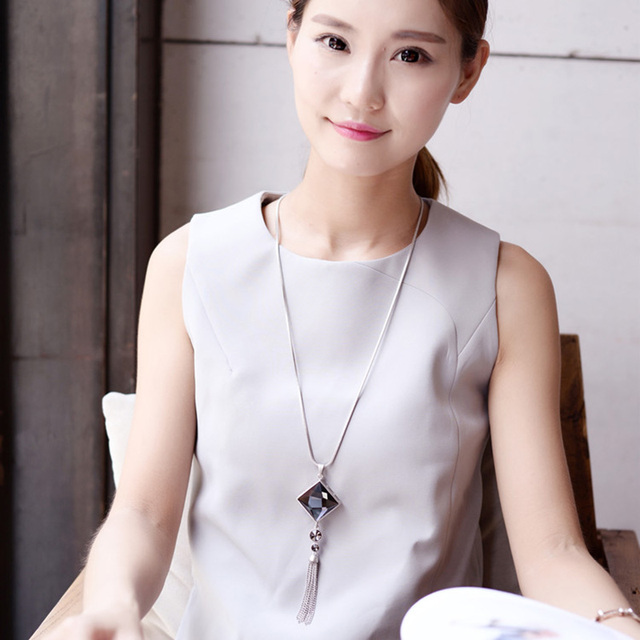 Square Big Drop Crystal Long Chain Sweater Tassel Necklace