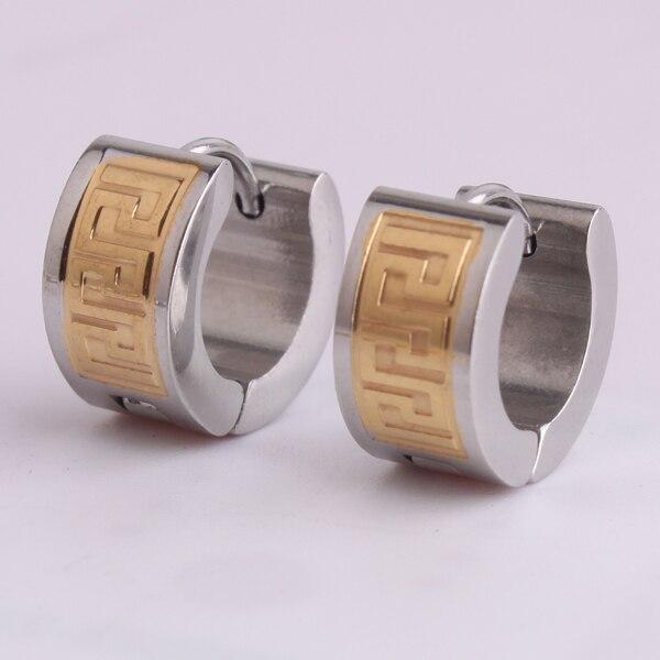 c4cea5722af6 Oro color gran muralla pattern316L aretes de acero inoxidable para hombre  venta al por mayor TING
