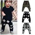 Retail 2016 Nueva Primavera Ropa Para Niños Niños Pantalones Harem Cruz Estrella Muchachas de Los Niños 100% Pantalones de Algodón Bebé Pantalones