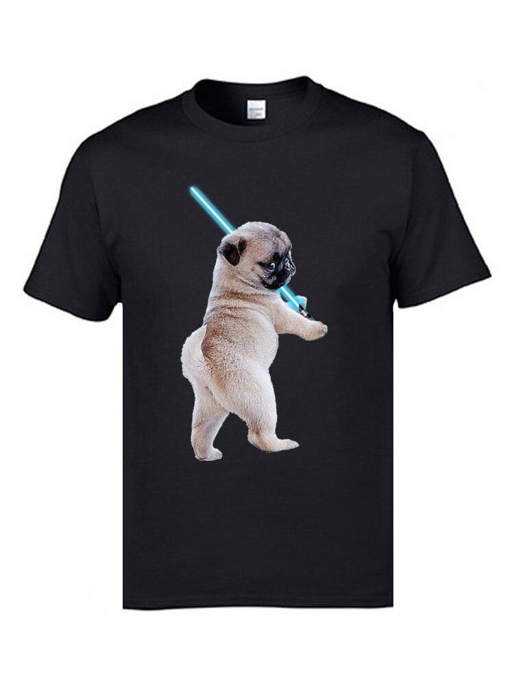 Pug with Lightsaber 9311 Hip hop Thanksgiving Day All Cotton Crewneck Men Tops Tees T Shirt 2018 Discount Short Sleeve T-Shirt Pug with Lightsaber 9311 black