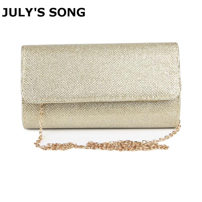 JULY'S SONG Women Evening Bag Party Banquet Glitter Bag For Women Girls Wedding Clutches Handbag Chain Shoulder Bag Bolsas Mujer
