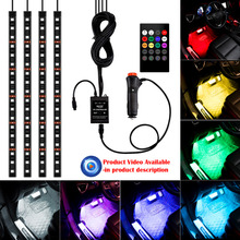 4XRGB 18LED Strip Light Sound&Music Control Car Light Strip lights 8 Colors Car-styling Atmosphere Lamps Interior Light + Remote