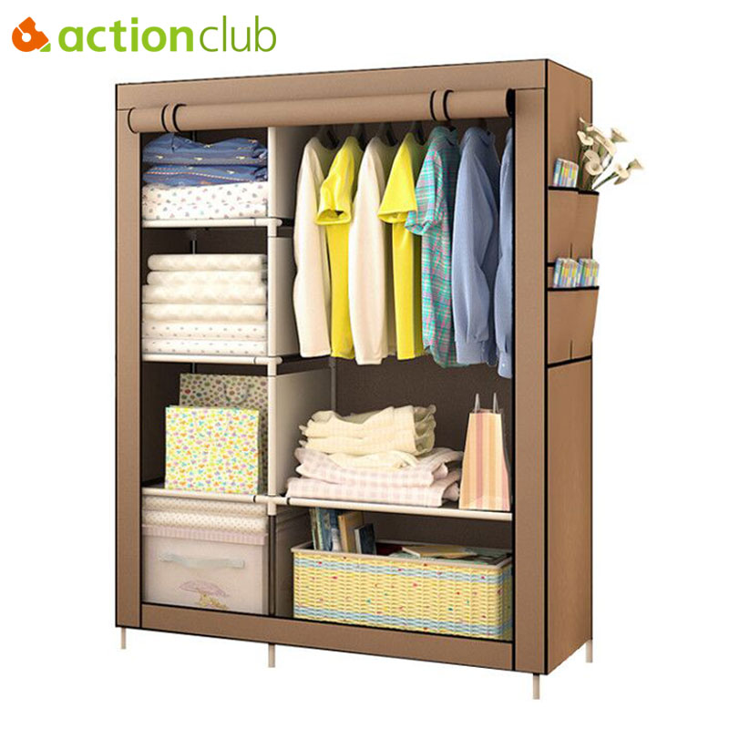 Actionclub When The Quarter Wardrobe DIY Non-woven Fold Portable Storage Cabinet Multifunction Dustproof Moistureproof Closet 1