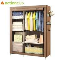 Actionclub When The Quarter Wardrobe DIY Non Woven Fold Portable Storage Cabinet Multifunction Dustproof Moistureproof Closet