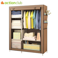 Actionclub When The Quarter Wardrobe DIY Non Woven Fold Portable Storage Cabinet Multifunction Dustproof Moistureproof Closet