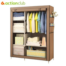Actionclub When The Quarter Wardrobe DIY Non-woven Fold Portable Storage Cabinet Multifunction Dustproof Moistureproof Closet(China)
