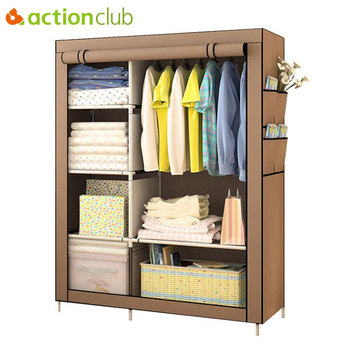 Actionclub When The Quarter Wardrobe DIY Non-woven Fold Portable Storage Cabinet Multifunction Dustproof Moistureproof Closet
