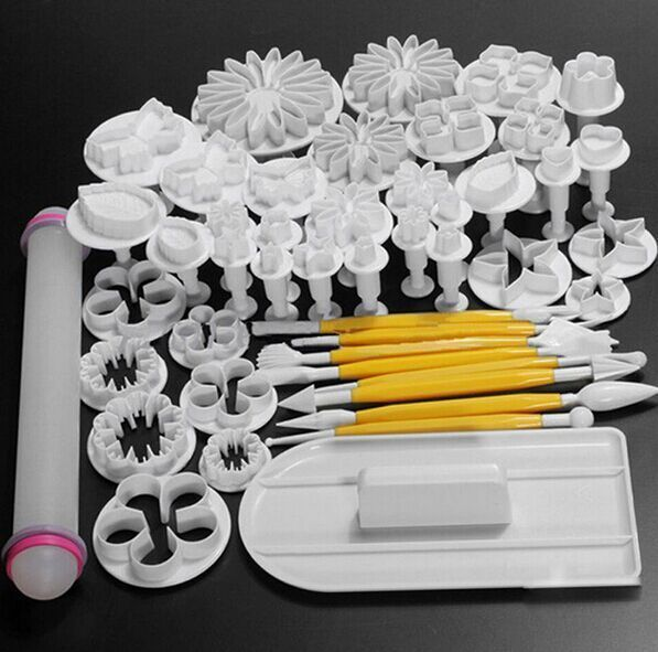 Ny 46st / set Fondantkaka Dekorerar Sugarcraft Stämpel Cutter Tools Mögel Kakor full set mögel