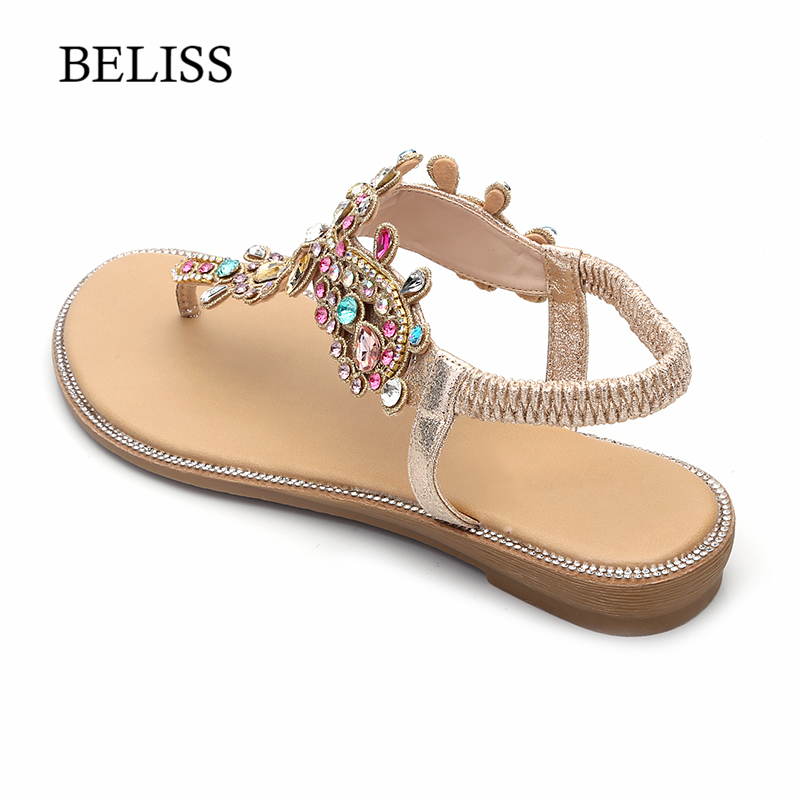 BELISS 2019 Flats Woman Sandals T Strap Fashion Female Shoes Peep Toe Rhinestones Summer Flats sandals Flip Flops Women S66 in Low Heels from Shoes