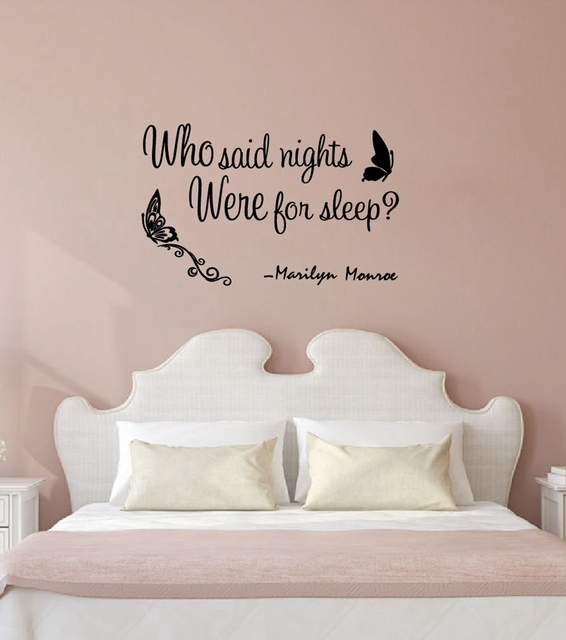 "who said nights were for sleep"" marilyn monroe quotes vinyl wall"