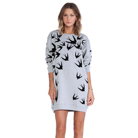 Sweatshirt Dress Tumblr Women 2017 Spring Casual Long Sleeve Cotton Swallow Bird Print Long Sleeve Grey