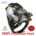 Novo 100% Natural de Água Doce Pérola jóias Cocktail Black & banhado a ouro com Zirconia Cúbico da Alta Qualidade Grande Pérola Única anéis