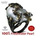 Nuevo 100% Natural Perlas de Agua Dulce de la joyería de Cóctel Negro y chapado en oro de Alta Calidad Cubic Zirconia Grande Perla Única anillos