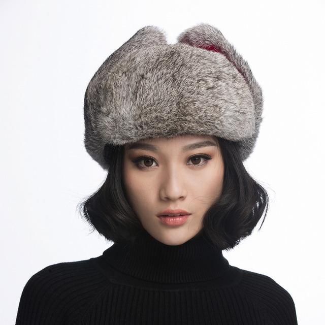 Ursfur ushanka chapéus para as mulheres com o real de pele de coelho cap senhoras russo trapper caps ear flap presente do chapéu do aviador