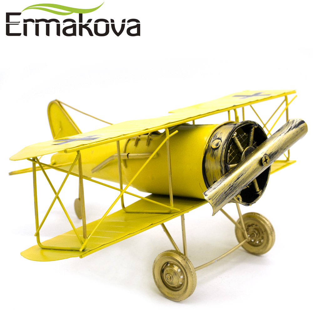 ERMAKOVA Metal Handmade Crafts Aircraft Model Airplane Model Biplane Home Decor Ornaments Furnishing Articles(Yellow Color)