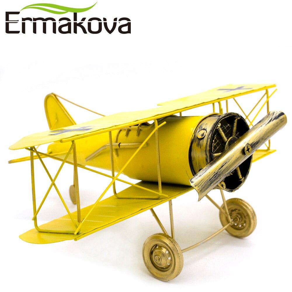 ERMAKOVA métal artisanat à la main avion modèle avion modèle biplan décor à la maison ornements Articles d'ameublement (couleur jaune)