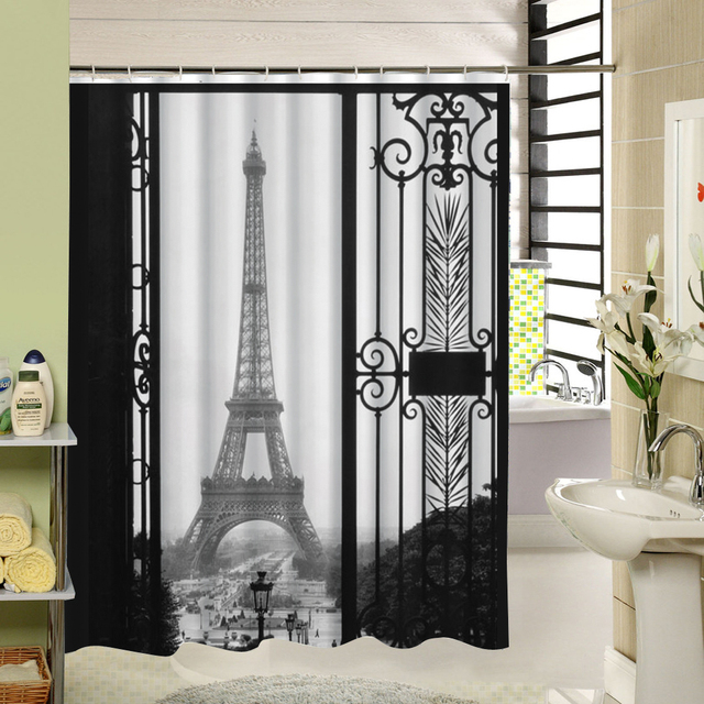 Vintage Design Paris Shower Curtain White and Balck 3d Waterproof ...