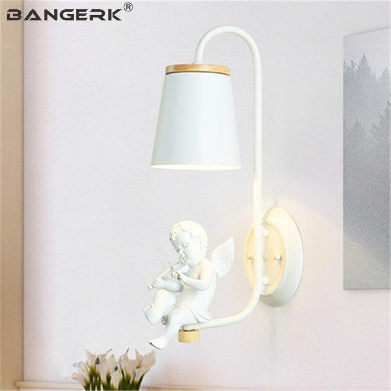 Creative Resin Angel Sconce Wall Light LED Modern Bedroom Bedside Wall Lamp Loft Home Decor Iron Nordic Design Lighting