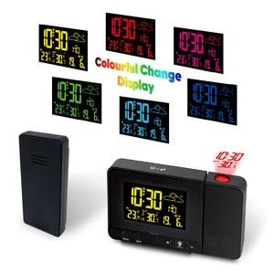 Image 4 - Digital HD Color Projection Alarm Clock In outdoor Thermometer Temperature Meter Double Alarm USB Charging VA Screen EU Plug