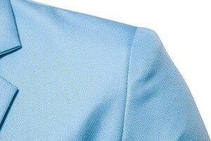 Image 4 - Erkek bir düğme çentikli yaka yeşil Blazer erkekler marka Slim Fit günlük giysi ceket Blazers erkek iş ofis kostüm Homme 2XL