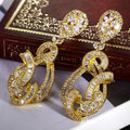 2017 New real gold plated AAA CZ long dangle earrings vintage water drop earring flower crystal wedding jewellry accessories