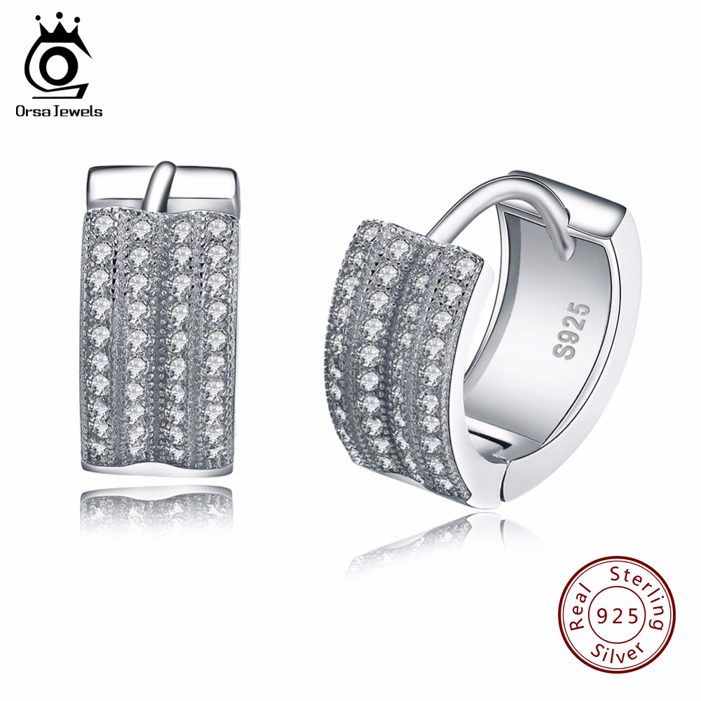 ORSA JEWELS Small Hoop Earrings with 2 Row Austrian Cubic Zirconia Fashion Jewelry 925 Sterling Silver Earring for Women SE20 цены онлайн