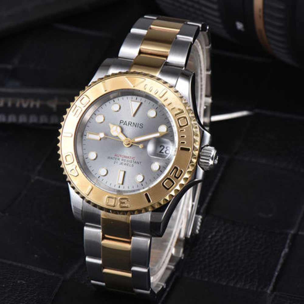 41mm Parnis Grey dial luminous stainless steel Golden Sapphire glass date adjust 21 jewels miyota Automatic movement Men's Watch 41mm parnis blue dial ceramic bezel stainless steel sapphire glass date adjust 21 jewels miyota automatic movement men s watch
