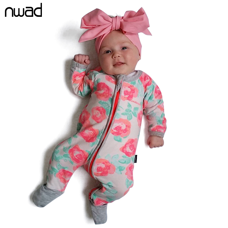 Newborn Baby Rompers 2017 New Flower Printing Baby Girl Boy Long Sleeve Zip Romper Toddler Kids Jumpsuit Baby Clothing FF257 newborn baby rompers baby clothing 100% cotton infant jumpsuit ropa bebe long sleeve girl boys rompers costumes baby romper