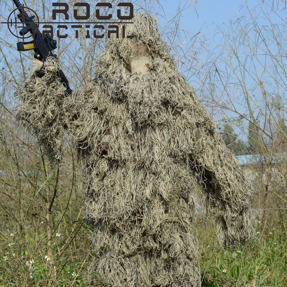 ROCOTACTICAL Lightweight Washable Sniper Ghillie Suit Tactical Camouflage Suit For Military Hunting Airsoft Paintball Woodland military camouflage ghillie suit woodland grass hay style paintball leaf jungle sniper clothes hunting tactical shade clothing
