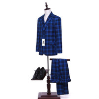Folobe Customized Blue Plaid British Style Mens Suits 3PCS Formal Business Men Suits Tuxedos Set Wedding Groom Suits Casual Wear