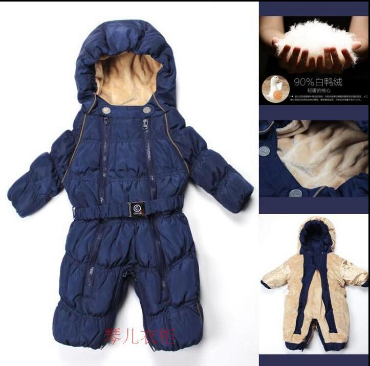 -30 degrees Winter Girl Romper Boy snowsuit clothing Thick Inner lining Soft flannel Warm Jacket White Duck Down Coat Jumpsuit