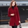 Новая мода горячая зима 2016 brand женские пальто шерстяное пальто и длинный толстый тонкий девушки женские модные пальто длинный
