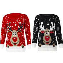 98880ec264908 JAYCOSIN Women Christmas Deer Warm Knitted Long Sleeve Sweater Jumper Top  O-Neck Casual Blouse