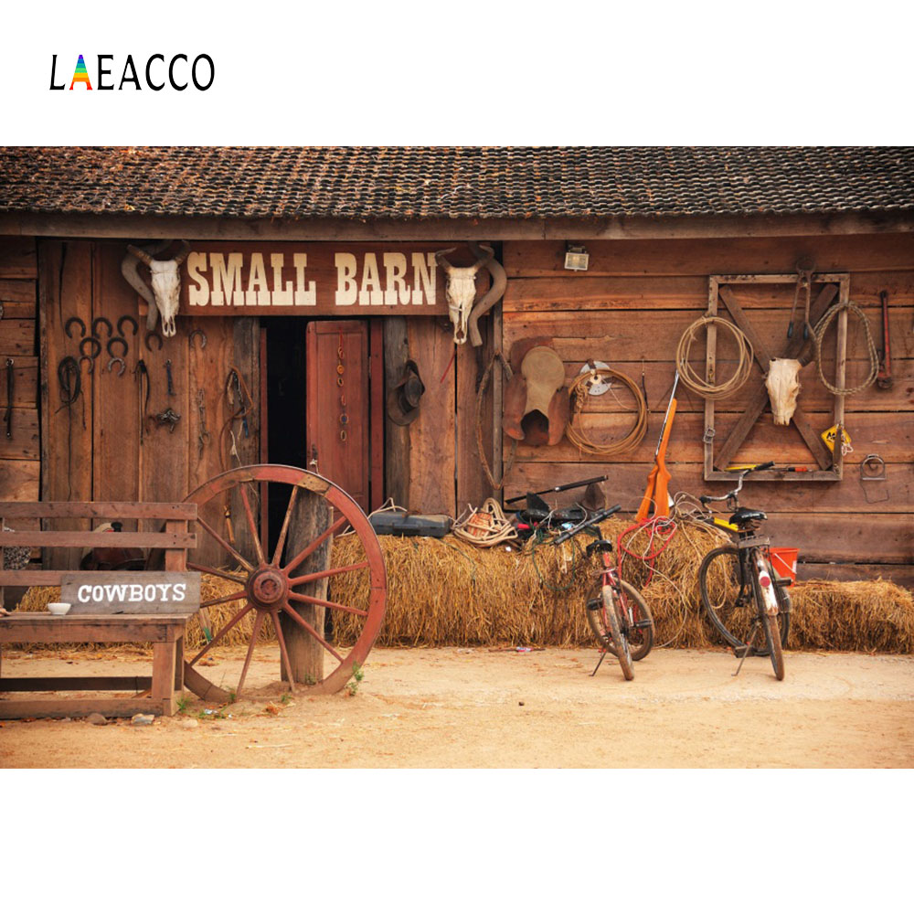 Laeacco Vintage US Western Cowboy Botte de Foin En Bois Maison Photographie Milieux Personnalisé Photographique Décors Pour Photo Studio