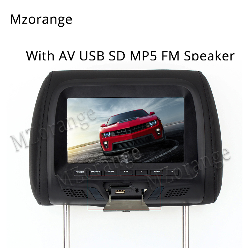 7 inch TFT LED Screen Pillow Monitor General Car Headrest Monitor Beige/Gray/Black color AV USB SD MP5 FM Speaker new 9 inch portable headrest monitor mp5 player led screen car monitor built in speaker support usb sd card reader fm sh9088 mp5
