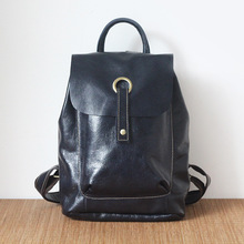 2017 Vintage Genuine leather women smooth surface water washing backpack lady's cow leather Leisure knapsack cowhide school pack