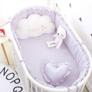 Image 1 - (5 stuks EEN Set) custom Size Baby Beddengoed Set Bed Bumper 4 stuks + 1 pc Wieg Bed Hoeslaken Voor 120x60 cm Baby Bed