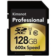 Kimsnot profesional de tarjeta de memoria 600x128GB 64GB 32GB 16GB 256GB tarjeta SD Class10 SDXC tarjeta SDHC C10 90 mb/s UHS-I para cámara DSLR