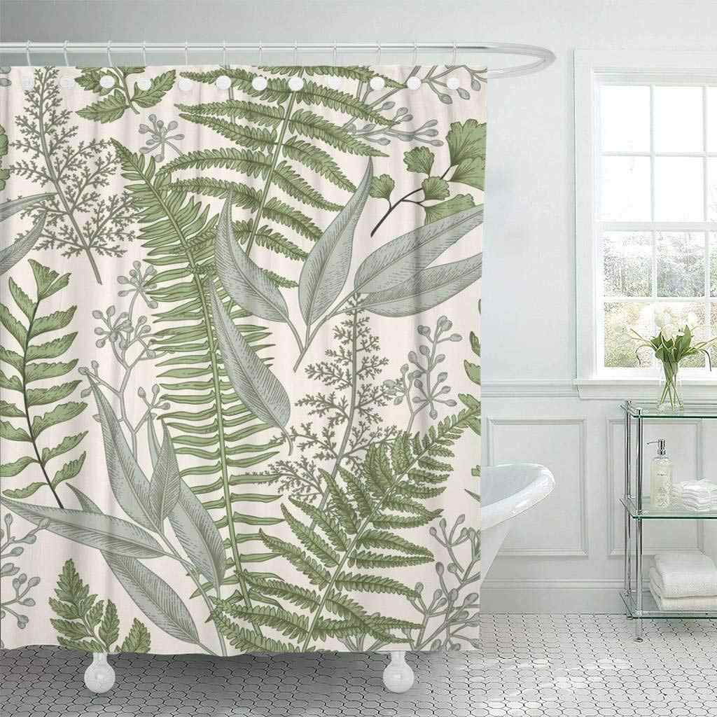 Fabric Shower Curtain With Hooks Green Fern Floral Pattern