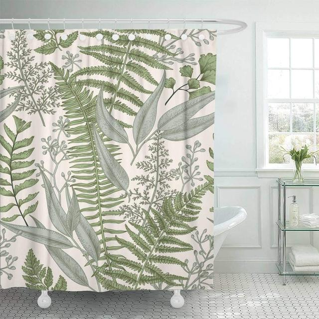 Fabric Shower Curtain With Hooks Green Fern Floral Pattern In Vintage Style Leaves And Plants Botanical