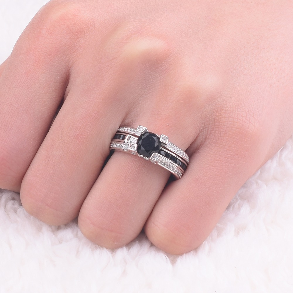 Jeulias Fashion Princess cut Black Obsidian Ring for Women ...