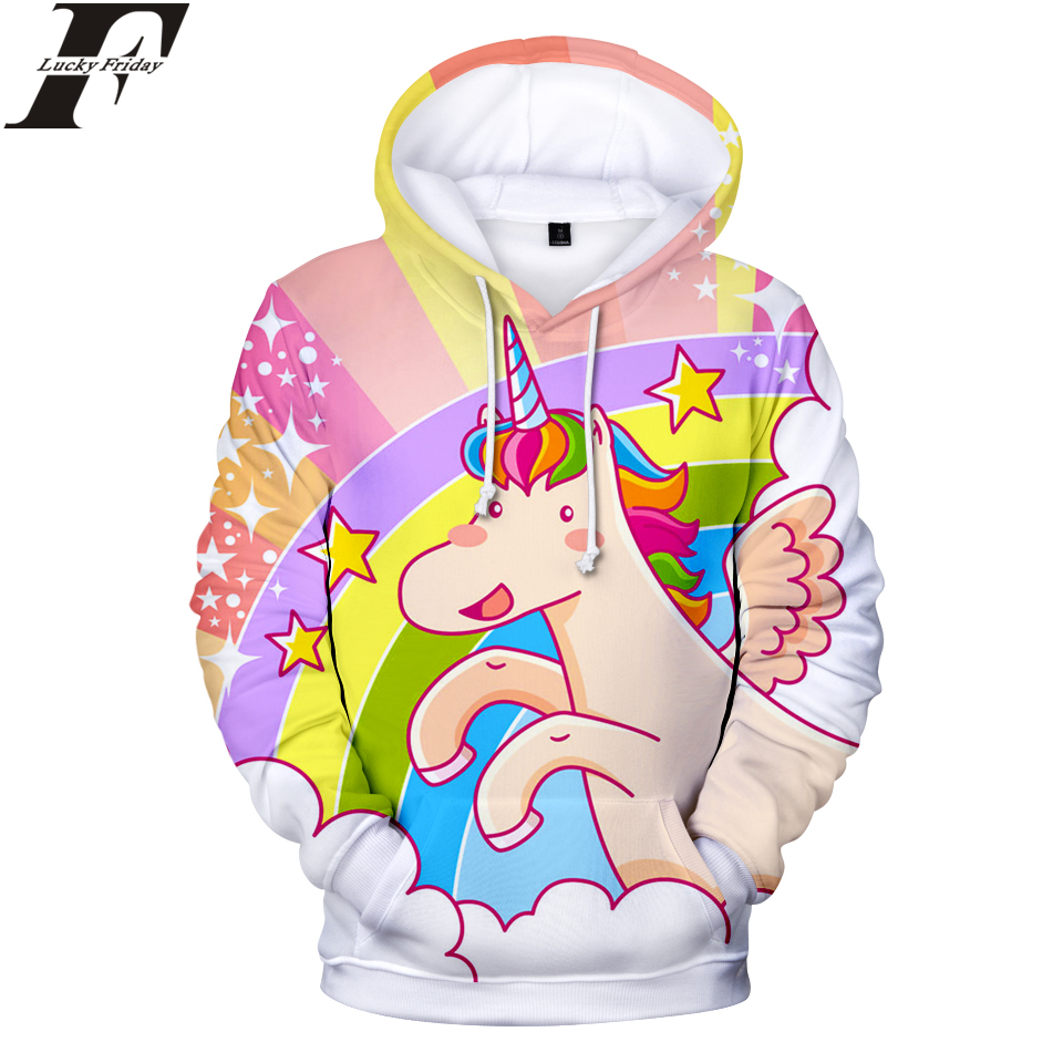 LUCKYFRIDAYF 2018 Unicorn 3D Hoodies Sweatshirt Anime Style Women/Men Regular Hoodies Fashion Casual Hoodies Clothes Plus Size