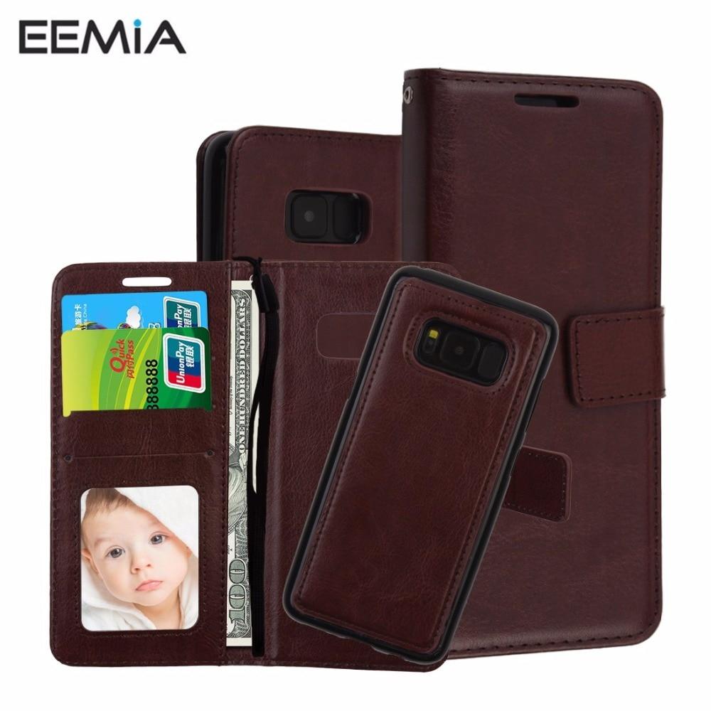 Eemia чехол для Samsung Galaxy S8 силиконовый чехол ТПУ + искусственная кожа съемный чехол для Samsung Galaxy S8 плюс S8 кошелек Телефонные чехлы